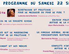 Université d'Eté 2018 de La Manif Pour Tous – Conférences de samedi après-midi