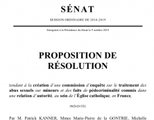 Proposition de résolution pour une commission d'enquête sur le traitement des abus sexuels au sein de l'Église catholique, en France