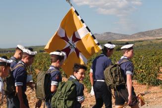 Sous le regard de Saint Michel,  le groupe Europa Scout de Perpignan fait sa rentrée