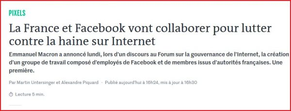 La France et Facebook vont collaborer dans la censure