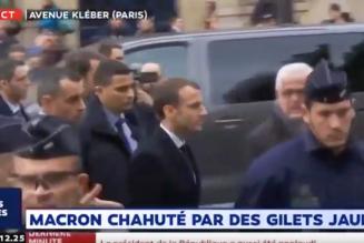 Macron hué par les Gilets Jaunes à son arrivée avenue Kléber
