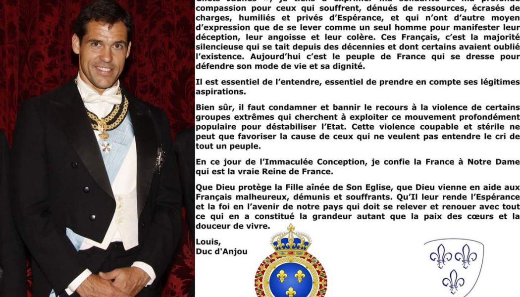 Le Prince Louis de Bourbon s'exprime sur le mouvement des gilets jaunes