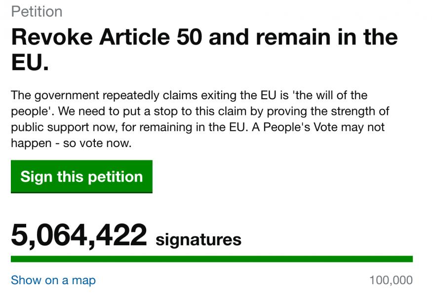 Pourquoi la pétition anti-Brexit est-elle bidon ?