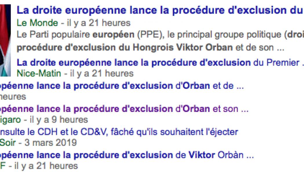 """Fausse nouvelle du jour : """"La droite européenne lance la procédure d'exclusion du Hongrois Viktor Orban"""""""