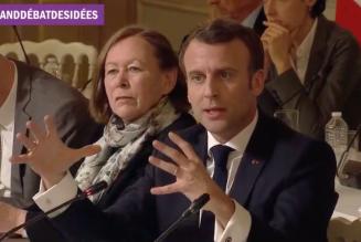 Irène Théry, grande prophétesse de la GPA, assise à la droite d'Emmanuel Macron