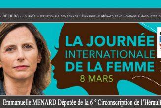 Journée internationale des femmes : Emmanuelle Ménard rend hommage à Jacquette de Bachelier