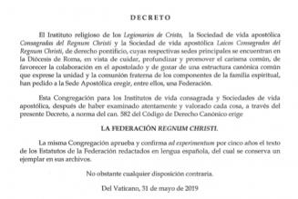 Le Saint-Siège érige canoniquement la fédération Regnum Christi