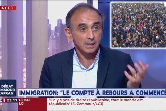 Zemmour : «Venez avec moi dans le métro, en banlieue, dans les villes du nord, du sud, à Rennes, Nantes, et vous allez comprendre si le Grand Remplacement n'est pas en marche. C'est tellement évident pour toute la France que ça ne fait rire que sur les plateaux télé.»