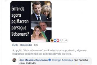 """""""Insultes"""" de Bolsonaro envers Brigitte Macron : c'était un faux compte et donc une fausse nouvelle [ADD.]"""