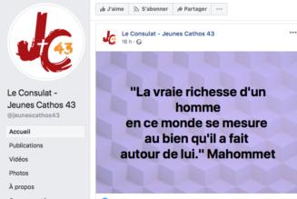 Les jeunes catholiques du Puy-en-Velay se réfèrent à Mahomet