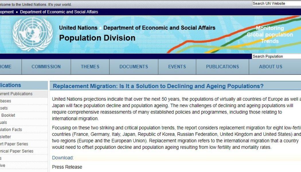L'ONU parle officiellement d'immigration de remplacement (Replacement Migration)