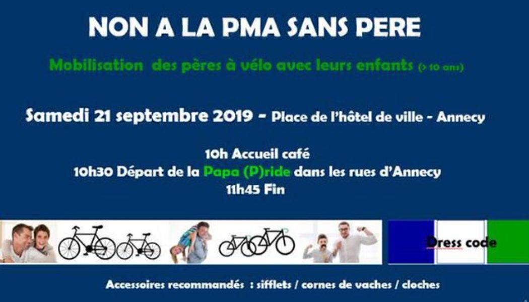 Papa (P)ride à Annecy  : Manifestation des pères à vélo pour l'égalité et la complémentarité homme/femme