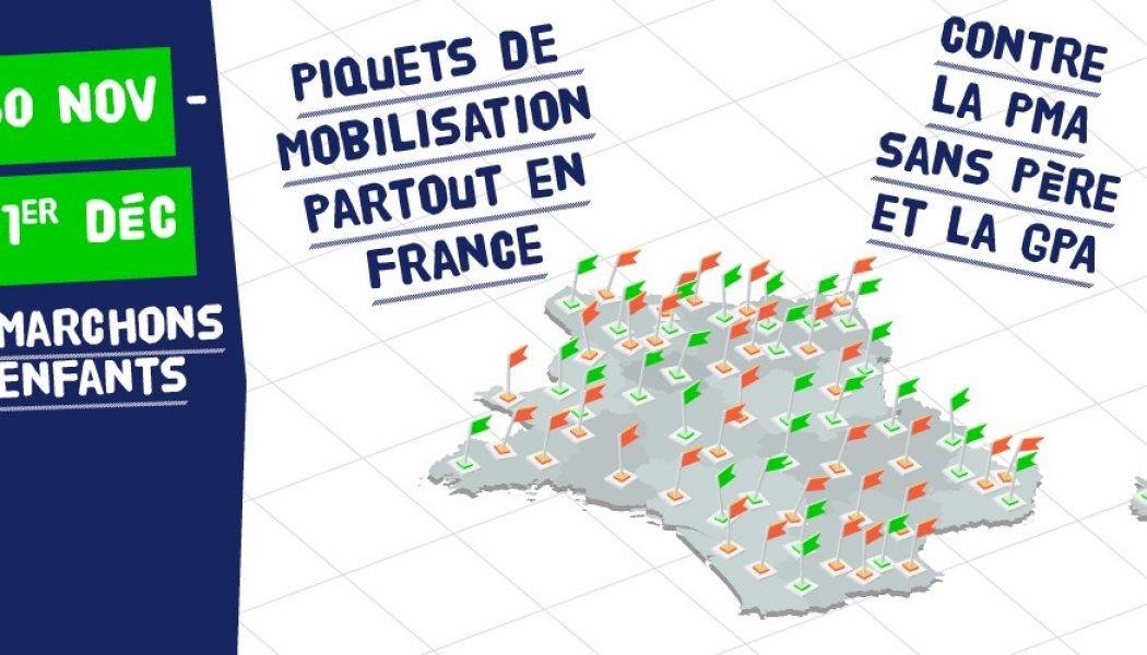 30 novembre et 1er décembre : 2 jours de mobilisation partout en France contre la PMA sans père et la GPA