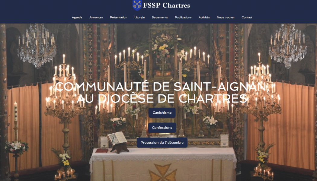 Nouveau site internet pour la Fraternité Saint-Pierre à Chartres