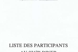 Liste complète des participants au Dîner du Siècle du 26 février 2020