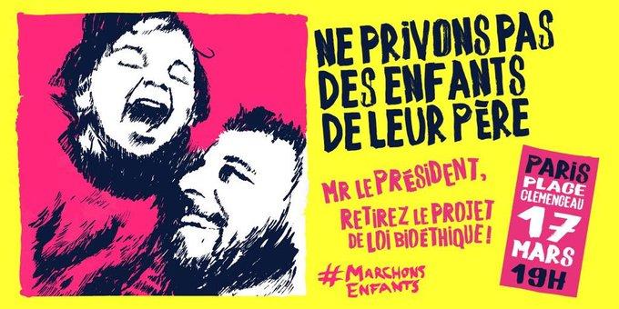 Parce que le Président de la République doit retirer le projet de loi bioéthique, rendez-vous mardi 17/03 à 19h30 Place Clemenceau !
