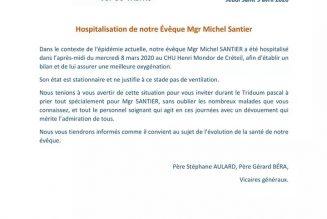Covid19 : monseigneur Michel Santier hospitalisé