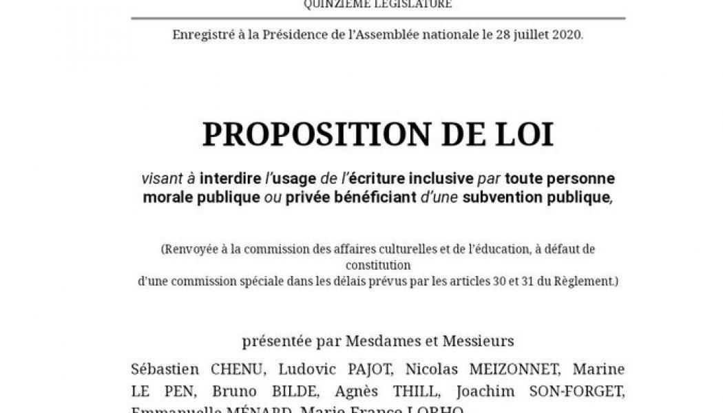 Proposition de loi pour écrire en français