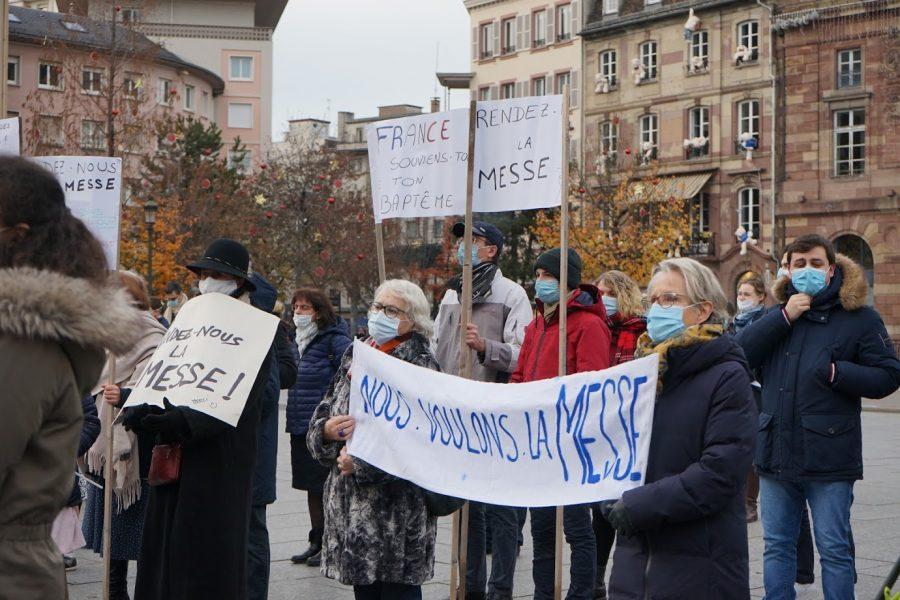 Manifestation pour la messe à Strasbourg