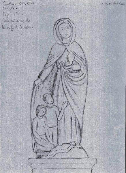 Marie qui protège l'enfant à naître