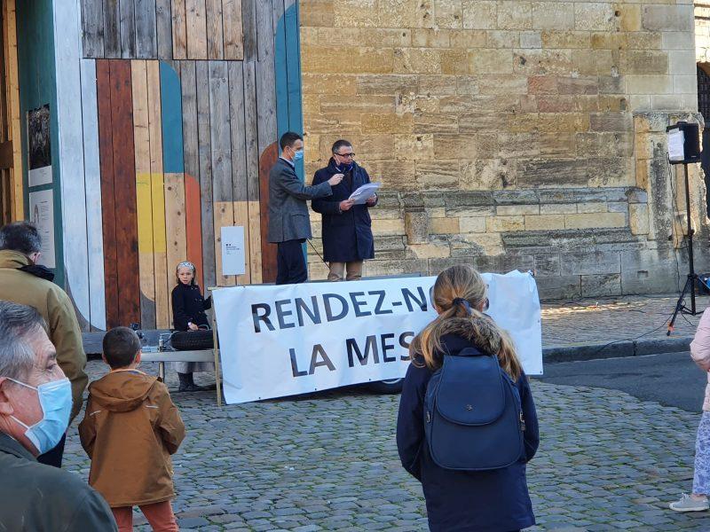 Manifestation pour la messe à Angers avec l'intervention de Guillaume Bernard