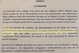 La charte de l'Islam de France ne condamne pas les actes antichrétiens