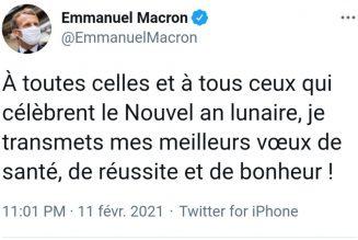 Macron n'a pas souhaité joyeux Noël aux Français mais souhaite le nouvel an lunaire placé sous le signe du buffle
