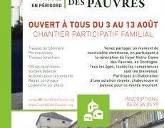Du 3 au 13 août : Chantier participatif familial