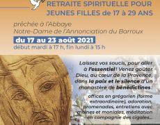 17-23 août : Retraite pour jeunes filles à l'Abbaye Notre-Dame de l'Annonciation
