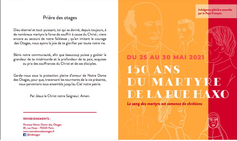 150e anniversaire du martyre de Mgr Darboy et ses compagnons