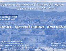SEMAINE 30-40 ans de DETENTE – EVANGELISATION – FORMATION à Lagrasse du 31 Juillet au 7 Août