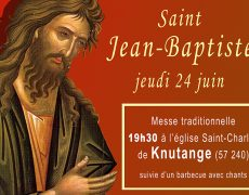 Saint Jean-Baptiste – messe et barbecue – jeudi 24 juin 19h30 – Knutange