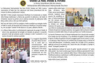 Défense de Summorum Pontificum : déclaration dans la presse de la Fédération Internationale Una Voce